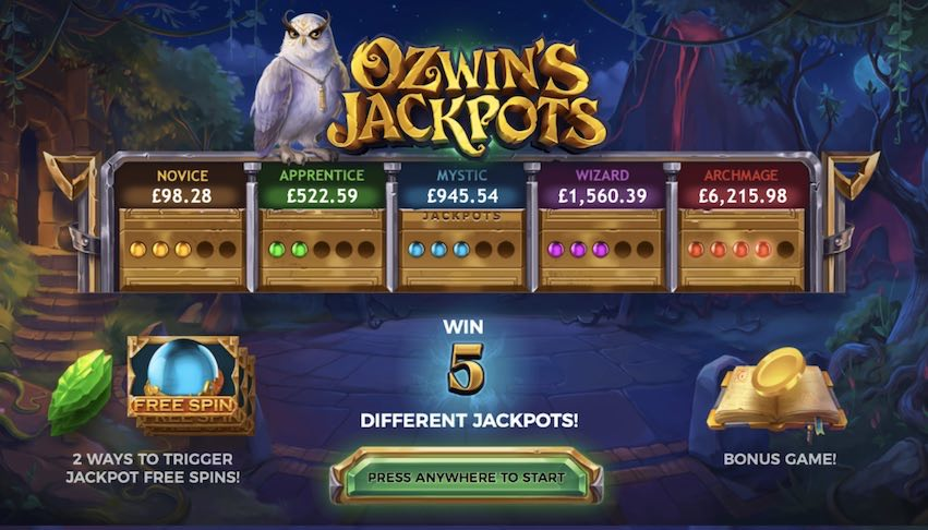 Ozwin's Jackpots Payouts