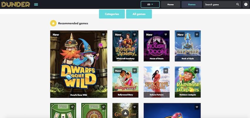 Dunder Casino Website