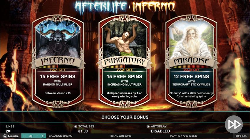 AfterLife Inferno Free Spins Choice