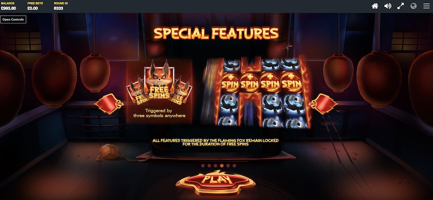 Flaming Fox Slot Features