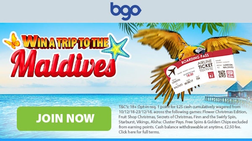 Win a Holiday In The Maldives With BGO Casino