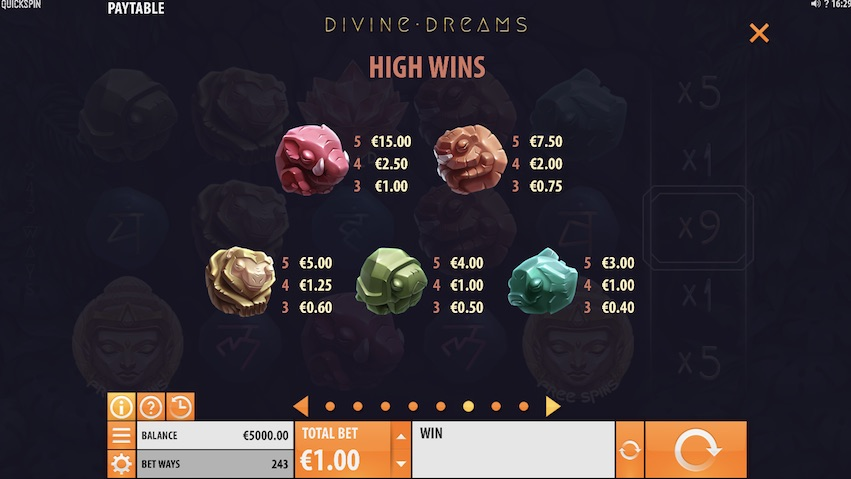 Divine Dreams Slot Payable