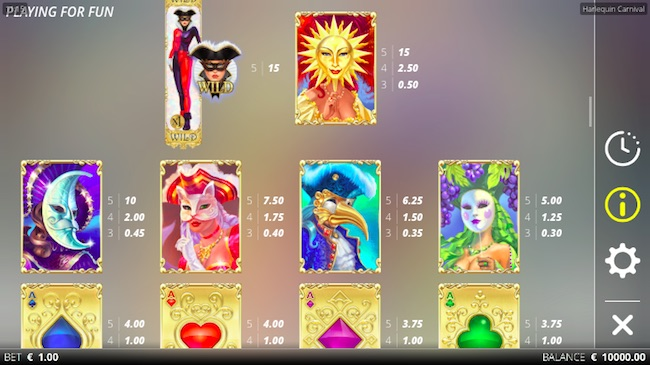 Harlequin Carnival Slot Paytable