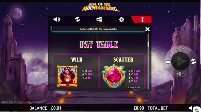 Rise of the Mountain King Slot Paytable