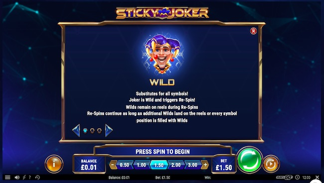 Sticky Joker Paytable