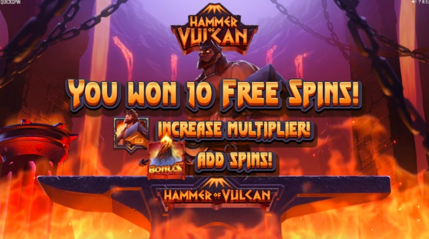 Hammer of Vulcan Slot Review (95.81% RTP) Quickspin | TheSlotBuzz